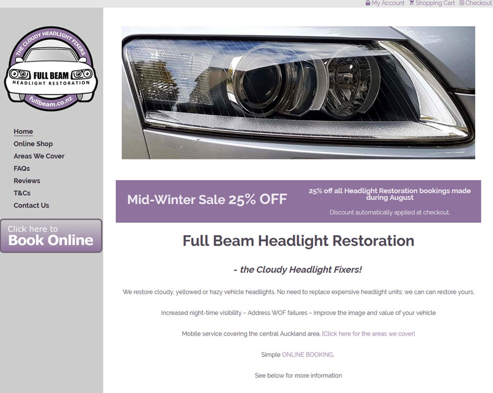 Fullbeam -  Booking /  Service Website