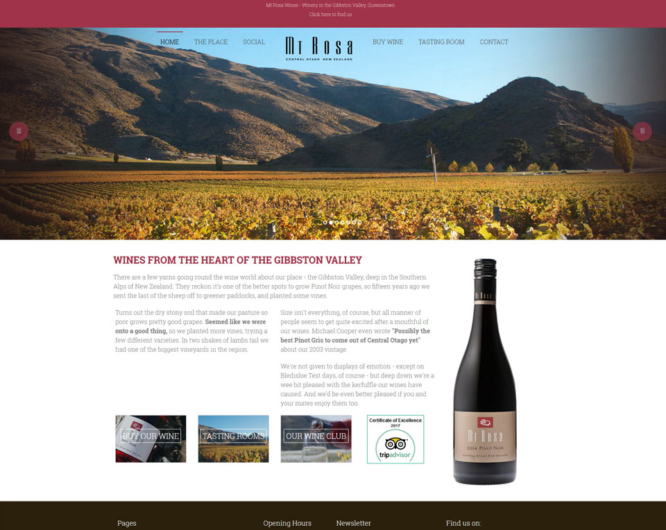Mt Rosa Wines - Ecommerce Website